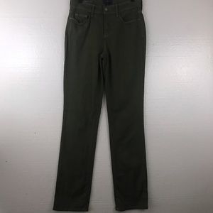 NYDJ Sz 2 Olive Green Marilyn Straight Jeans Pants